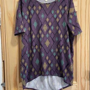 LulaRoe XXS IRMA shirt purple, black, tan, blue